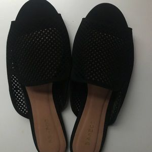 Perforated Nubuck Peep Toe Flat Mule Sandal